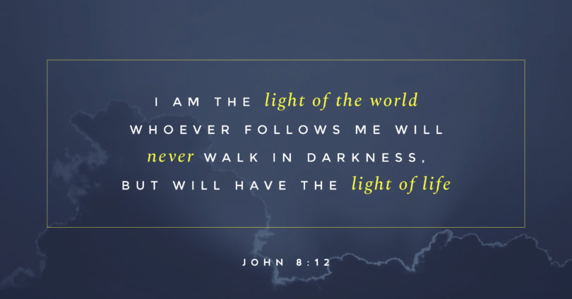 "A picture of clouds with the text ""I am the light of the world whoever follows me will never walk in darkness, but will have the light of life. John 8:12"""
