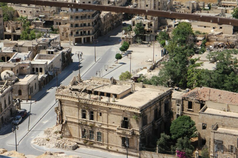 City block that has been destroyed by war.