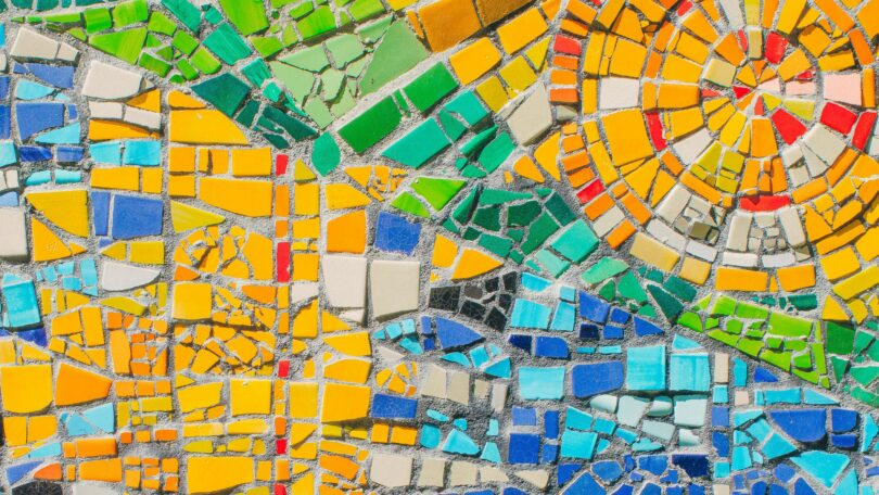 A picture of a colourful mosaic.