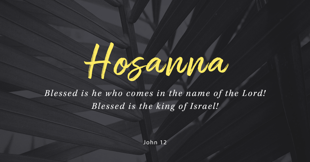 """A leaf with text over top that reads """"Hosanna. Blessed is he who comes in the name of the Lord. Blessed is the king of Isreal."""" (John 12)"""