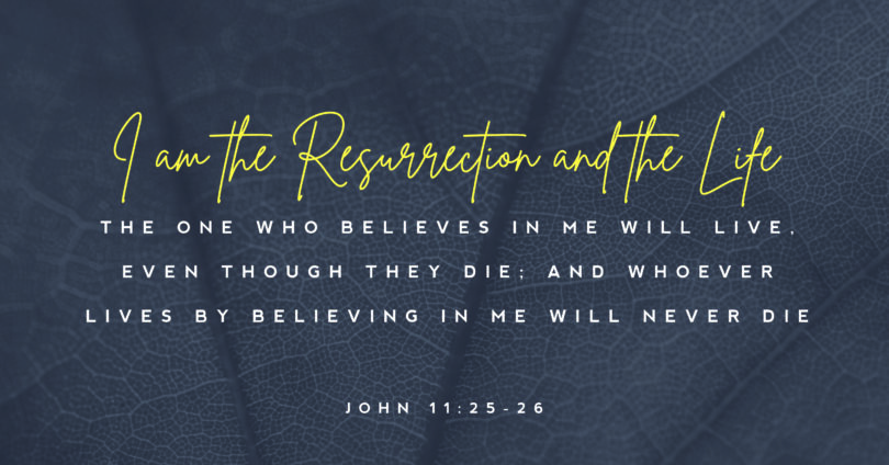 "A close up picture of a leaf with text over it that reads, ""I am the resurrection and the life the one who believes in me will live. Even though they die; and whoever lives by beliving in me will never die."" (John 11:25-26)"