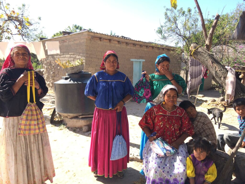 Three Huichol women and two children are photographed