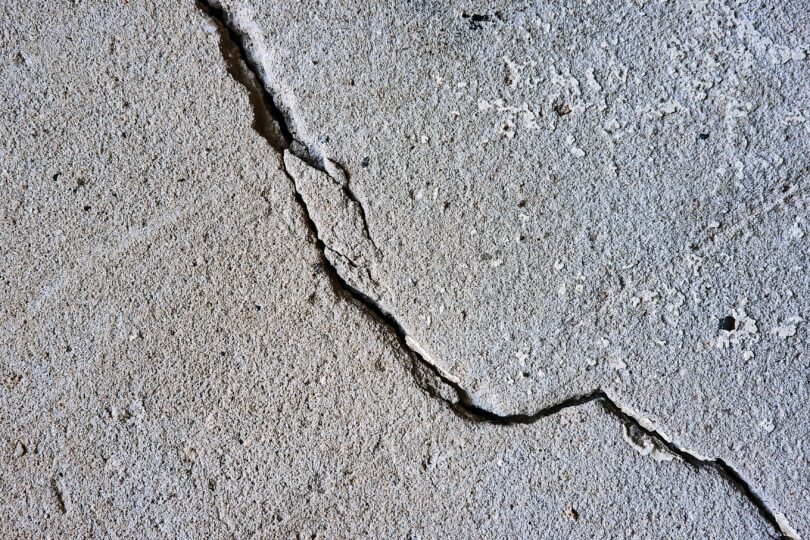 A crack in the cement.