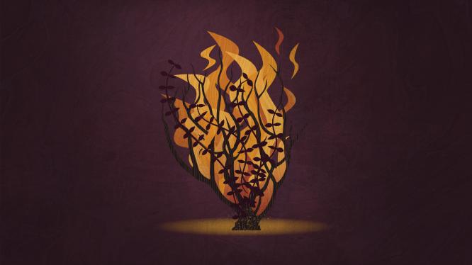 A digital illustration of a burning bush.