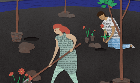 An illustration of people gardening in a dark landscape. Everywhere they've been there are plants.
