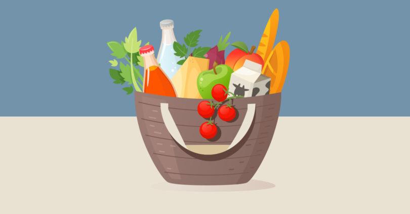 A cartoon basket of food.
