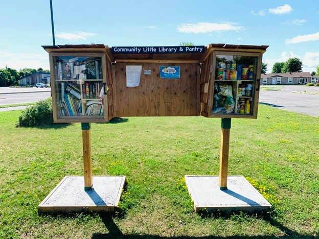 Picture of a community library and pantry.