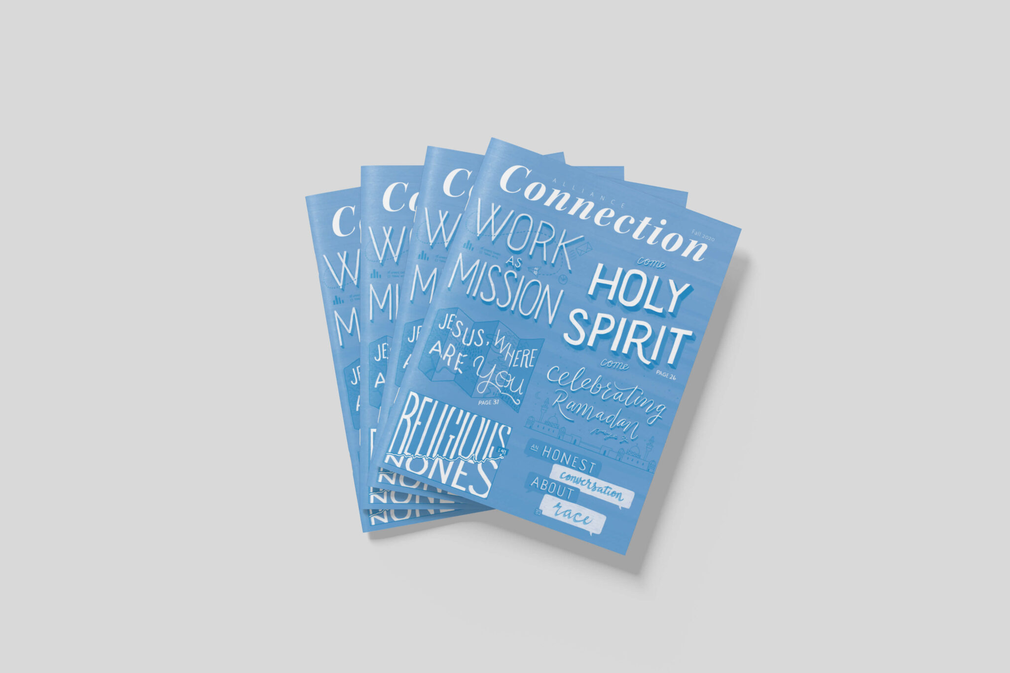 Four Alliance Connection magazines are fanned out