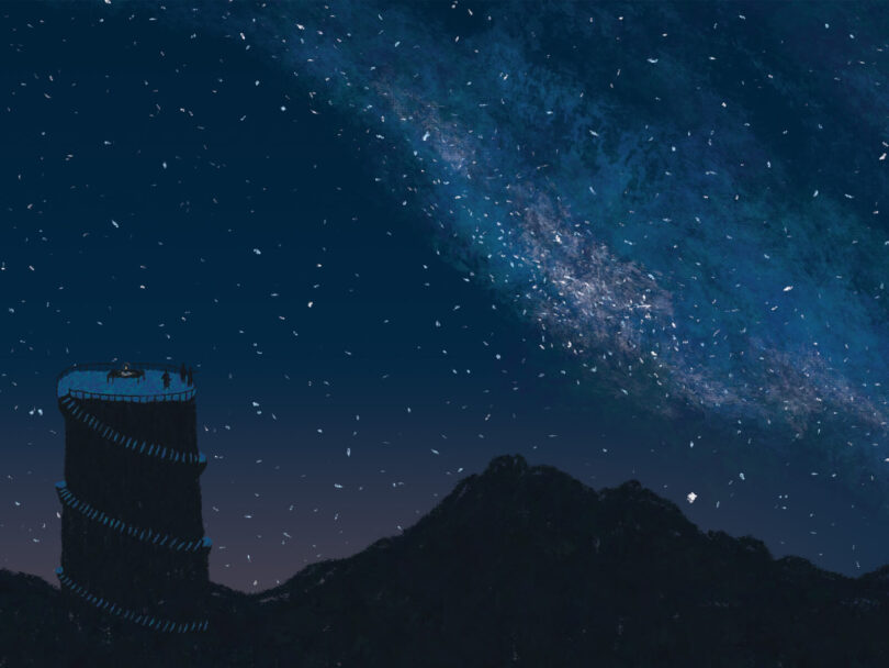 A watch tower silhouette in a night sky