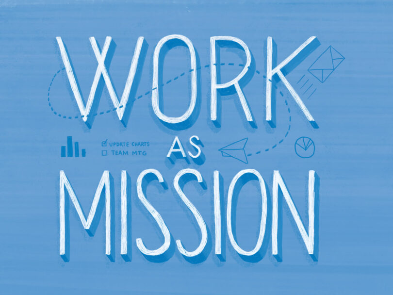 Work As Mission on a blue background with illustrated icons.