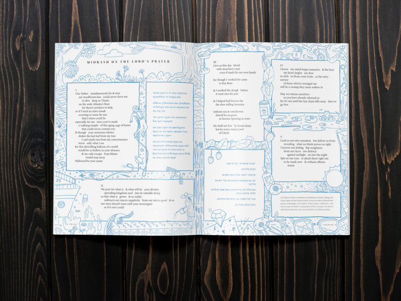 The Alliance Connection magazine lays open on a table to the page where a poem is illustrated to look like the page of a Bible.