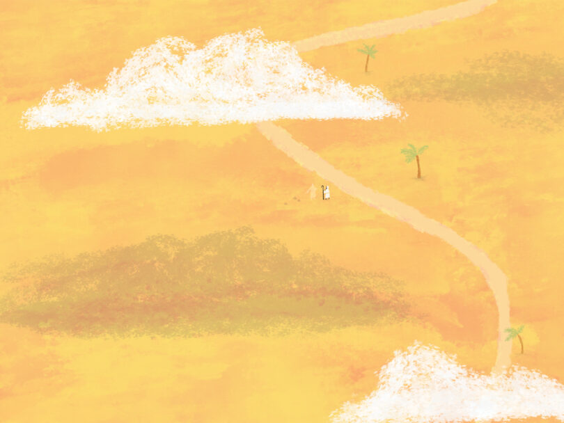 An illustration of a pathway in a desert. Two small figures can be seen beside the path.