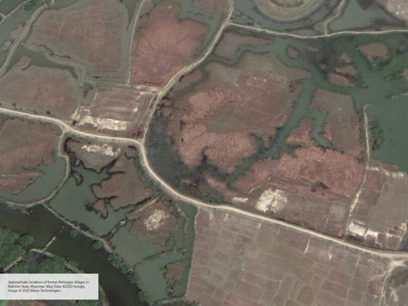 Satellite image of fields and roads and what seems to be demolished buildings