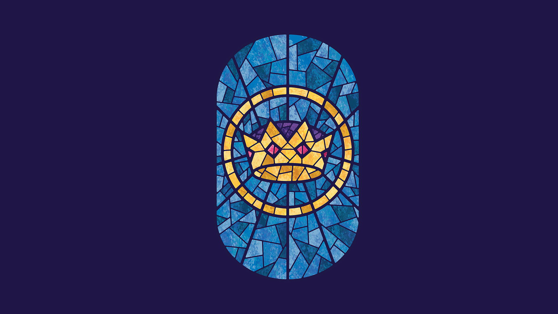 A stained glass style illustration of the crown, representing Christ the coming king.