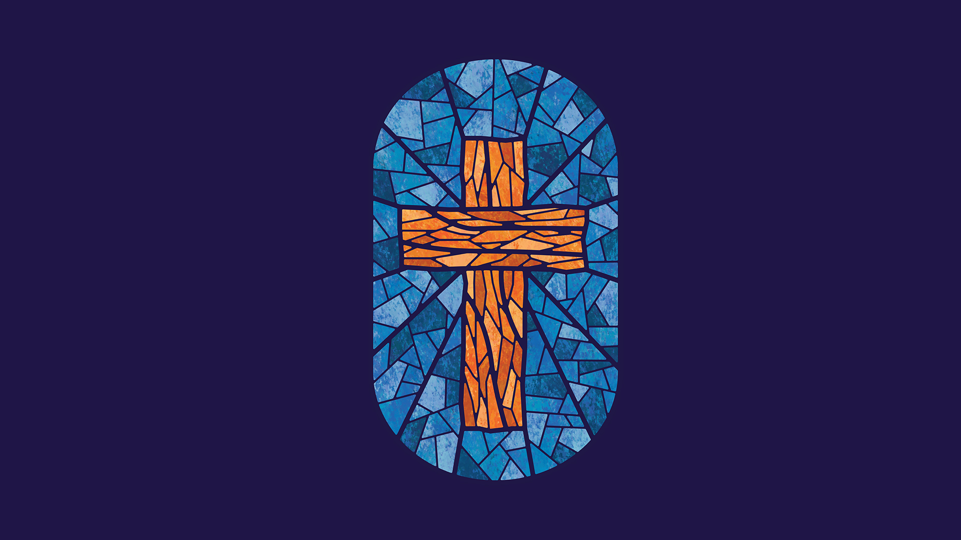 A stained glass style illustration of the cross, representing Christ the saviour.