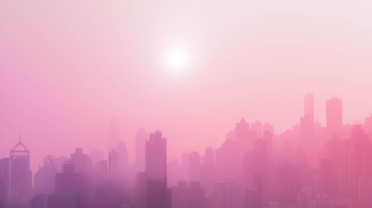 Foggy city skyline in south east asia