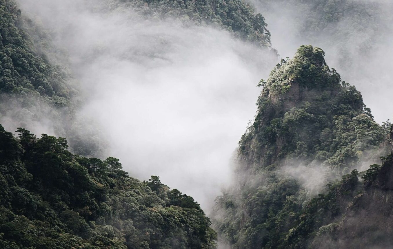 Fog over some mountains.