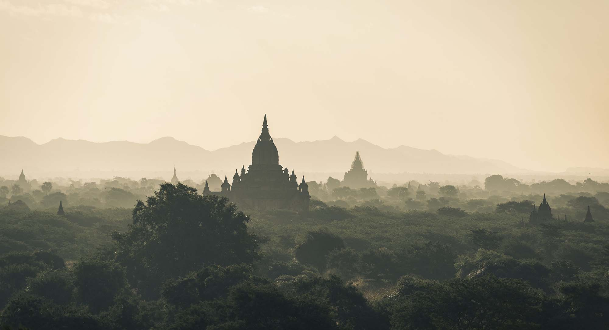 Picture of temples in the jungle in south Asia